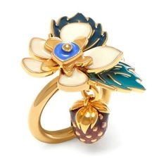 Mulberry Flower Ring (3.383.000 IDR) ❤ liked on Polyvore featuring jewelry, rings, soft gold, blossom ring, floral ring, flower jewellery, floral jewelry and blossom jewelry