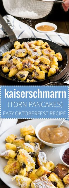 This Kaiserschmarrn recipe is perfect for your Oktoberfest party but it also makes a great dessert for other special occasions! A fluffy pancake made with rum-soaked raisins is torn into bite-sized pieces, caramelized, and served hot sprinkled with Confec
