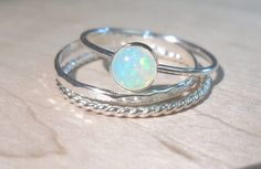 Opal ring Stacking SetSterling silver opal stacking by AWildViolet, $52.00