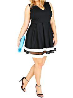 Black U Cut Striped Hem Flare Plus Dress 23.33