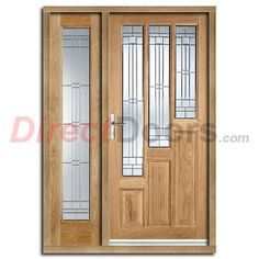 Image of Coventry Exterior Oak Door and Frame Set with One Side Screen and Elegant Double Glazing
