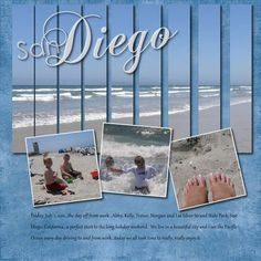 Beach scrapbook layout with main pic in strips Beach Scrapbook Layouts, Travel Scrapbook Pages, Vacation Scrapbook, Scrapbook Sketches, Scrapbook Cards, Scrapbook Photos, Digital Scrapbooking Layouts, Foto Baby, Photo Layouts