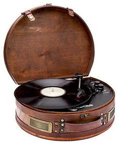 ClearClick Vintage Suitcase Turntable with Bluetooth & USB - Classic Wooden