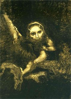 Caliban on a branch  Artist: Odilon Redon  Completion Date: 1881  Style: Symbolism  Genre: literary painting  Technique: charcoal, chalk  Material: paper  Dimensions: 49.9 x 36.7 cm  Gallery: Musée d'Orsay, Paris, France
