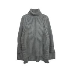 Gray High Low Oversized Turtleneck Sweater (£69) ❤ liked on Polyvore featuring tops, sweaters, grey, polo neck sweater, acrylic sweater, gray turtleneck sweater, oversized grey sweater and oversized sweaters