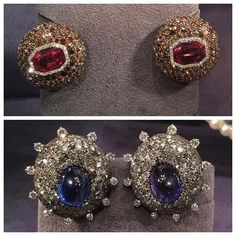 Two great pairs of JAR earrings from Sotheby's upcoming sale, the top are spinels with brown and colourless diamonds and the others are Ceylon sapphires with diamonds - which do you prefer?!? #JARjewelry