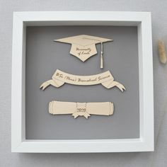 This beautiful Graduation gift will be treasured for a lifetime. Mounted in a white box frame measuring 23cm x 23cm there are 3 wooden engraved pieces that are personalised to showcase their special achievement. Personalized Graduation Gifts, Personalised Box, Dried Flower Bouquet, Dried Flowers, White Box Frame, Clear Perspex, Wooden Gifts, Unusual Gifts, Box Frames