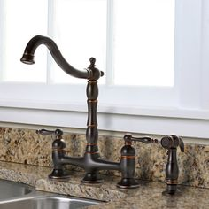 Charelstown Bridge-style 2-handle Parisian Bronze Kitchen Faucet | Overstock™ Shopping - Great Deals on Premier Kitchen Faucets