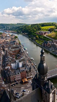 Dinant, Belgium.  Dinant is a Walloon (French speaking) city located on the River Meuse in the Belgian province of Namur, Belgium. (V)