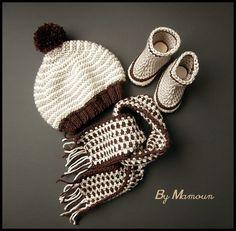 Bonnet, écharpe et bottes bébé coordonnés tricotés et crochetés main  Dégradé de Marrons   Mode 433d52b4c92