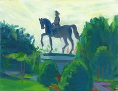 Washington Statue, Boston Commons For sale Oil on board, 11x14""