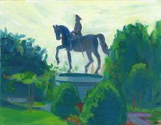 "Washington Statue, Boston Commons For sale Oil on board, 11x14"""