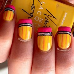 Here is a very very easy Back To School Nail Art Design! I personally love yellow nail polish but you can use any colours for this Pencil Nail Ar. School Nail Art, Back To School Nails, Love Nails, Fun Nails, Pretty Nails, Glitter Nails, Simple Nail Designs, Nail Art Designs, Teacher Nails