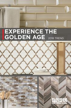 Gold and metal hues are timeless and gorgeous. Find tiles in gold, silver, and bronze in our Inspiration Catalog on page 13. Floor & Decor