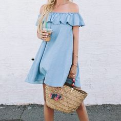 """LAST ONEDenim Chambray Rope Tie Ruffle Dress Off the shoulder chambray dress with elastic shoulders and a rope tie at the waist. 100% cotton. Length from small measures approx 33"""". Top photo is inspiration photo. Leather and Sequins Dresses"""