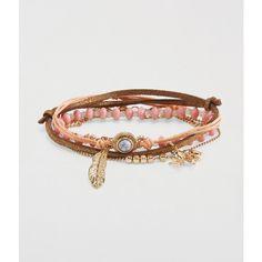 Aeropostale Elephant & Feather Bracelet 5-Pack ($5.67) ❤ liked on Polyvore featuring jewelry, bracelets, multi, aéropostale, feather bangle, elephant jewellery, knot jewelry and feather jewelry