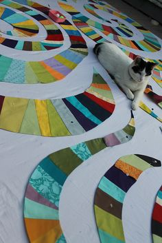 Rainbow Derecho Quilt in Progress by DanaK~WaterPenny, via Flickr