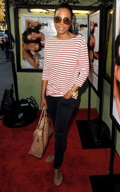 241875c2fcfa Aisha Tyler wears a Rika Charlie striped shirt