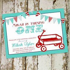 little red wagon, first birthday party invitation digital, printable file (item 253)