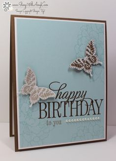 light flower stamping on bkgrd, beautiful HB stamp and butterflies!  love it! by Stamp With Amy K
