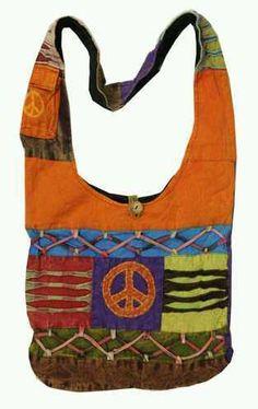 Hobo Hippie Twist Tie Peace Sign Patch Sling Crossbody Messenger Bag Nepal