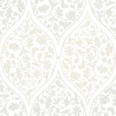 Adelaide Silver Ogee Floral Wallpaper design by Brewster Home Fashions (670 ZAR) ❤ liked on Polyvore featuring home, home decor, wallpaper, floral damask wallpaper, floral wallpaper, zebra wallpaper, fairy tale wallpaper and double roll wallpaper
