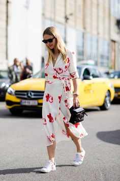 Spring Style // Floral dress with white sneakers.