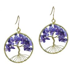 Eternal Tree of Life Purple Amethyst Branch Brass Dangle Earrings >>> Discover this special jewelry, click the image : Jewelry