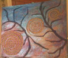 Lienzo texturas de relieves, oleos y purpurinas :)