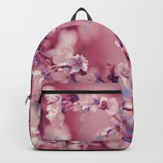 "Our Backpacks are crafted with spun poly fabric for durability and high print quality. Thoughtful details include double zipper enclosures, padded nylon back and bottom, interior laptop pocket (fits up to 15""), adjustable shoulder straps and front pocket for accessories. Dry clean or spot clean only. One unisex size: 17.75""(H) x 12.25""(W) x 5.75""(D). #juledecule #floraldesign #pink #style #rucksack #wow #modern"