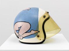 From David Kordansky Gallery, John Wesley, Bird Lovers Acrylic on helmet, 10 × 9 × 13 in Retro Helmet, Vintage Helmet, Vintage Racing, Motorbike Design, Custom Motorcycle Helmets, Helmet Paint, John Wesley, Mixed Media Sculpture, Contemporary Art Daily