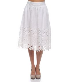 Love this White Lace Midi Skirt on #zulily! #zulilyfinds