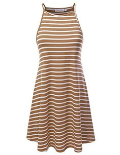 JJ Perfection Womens Striped High Neck Sleeveless Dress CORAL S * Visit the image link more details. Casual Dresses, Dresses For Work, Summer Dresses, Taupe, Clothes, Rust, Image Link, Coral, Fashion