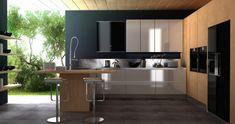 black white oak kitchen for modern kitchen design Kitchen Bar Design, Best Kitchen Designs, Outdoor Kitchen Design, Interior Design Kitchen, Kitchen Ideas, Contemporary Kitchen Design, Modern Design, Küchen Design, House Design