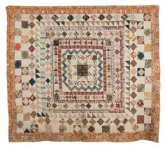 "RARE PIECED CENTER MEDALLION QUILT WITH NORTH STAR AND MULTIPLE FRAMES, PROBABLY MARYLAND, CIRCA 1830. Approximately 78 x 92 inches. Literature: Illustrated in ""Treasure or Not."" Est. $2,500-$3,500"
