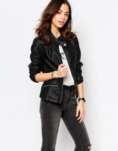 Leather Look Biker Jacket - ASOS