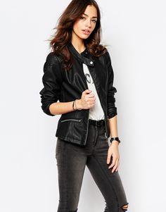 Image 1 ofJ.D.Y Leather Look Biker Jacket