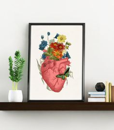 Flowery heart with a butterfly art Print- A4 Wall art. Human anatomy  print- Chic wall art, Human anatomy and flowers art WSK178