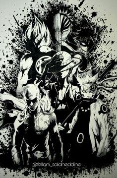 Legendary anime heroes Goku, Ichigo,  Natsu,  Luffy, Saitama and Naruto drawing