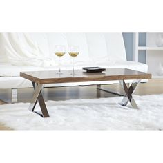 Anika Coffee Table - Walnut/Chrome