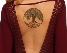 2 Celtic Tree Temporary Tattoo - Large Temporary Tattoo Black - Fake Tattoo - Tree of Life