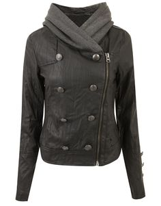 BLACK -  WOMENS ZIP MILITARY BUTTONED COAT NEW LADIES HOODED LINED LEATHER JACKET