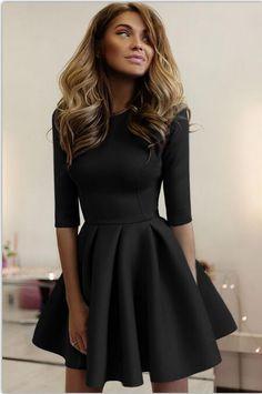 2017 Autumn Women's Three Quarter Sleeve Slim A-Line Mini Dresses Sexy Casual Solid Mini Skater Dress Vestidos Femininos LX250 - MISS LADIES