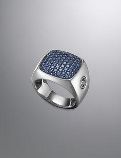 David Yurman Signet Ring, Pave Sapphires   Brown & Co. Jewelers @Brown & Company Jewelers