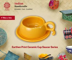 Our ceramic cup saucer series with exquisite earthen prints are completely handmade items. #HandmadeItems #CeramicCups #handicraft #MakeinIndia