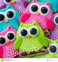 Buy Owl cookies by RuthBlack on PhotoDune. Array of colorful owl cookies Summer Cookies, Fancy Cookies, Iced Cookies, Cute Cookies, Royal Icing Cookies, Cookies Et Biscuits, Cupcake Cookies, Owl Sugar Cookies, Birthday Cookies
