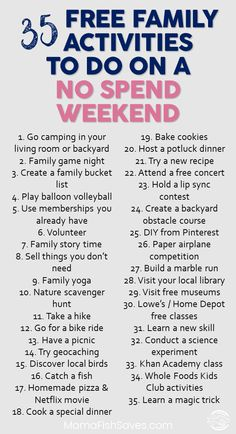 35 Fantastic Free Family Activities For Your Weekend Best Free Family Activities to Have Fun Without Spending Money Do not Spend Weekend With Kids Free Fun With Kids via Family Fun Night, No Family, Family Weekend, Frugal Family, Activities To Do, Weekend Activities, Life Skills Activities, Couple Activities, Health Activities