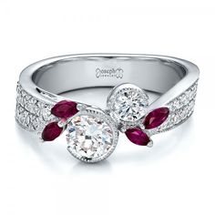 Custom Marquise Ruby and Diamond Engagement Ring #100138
