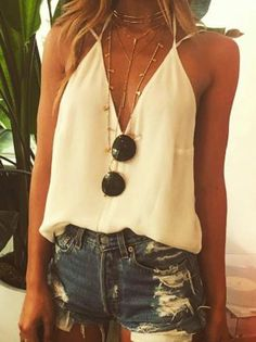 #spring #outfits  White Silk Top + Ripped Denim Short