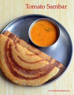 Tomato Sambar Recipe For Dosa - Thakkali Sambar Without Dal Veg Recipes, Indian Food Recipes, Vegetarian Recipes, Cooking Recipes, Healthy Recipes, Ethnic Recipes, Jain Recipes, Cooking Dishes, Healthy Foods
